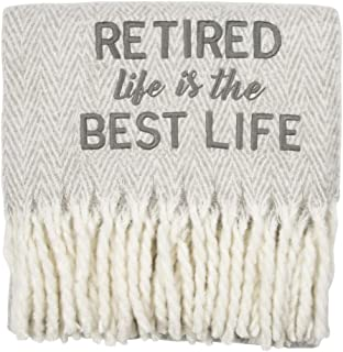 Pavilion Gift Company Best Life-Grey 50x60 Inch Embroidered Text Throw Blanket Retirement Gift