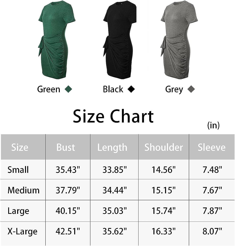 INIBUD Women's Summer T Shirt Dress Short Sleeve Crew Neck Casual Bodycon Ruched Tie Waist Mini Dresses