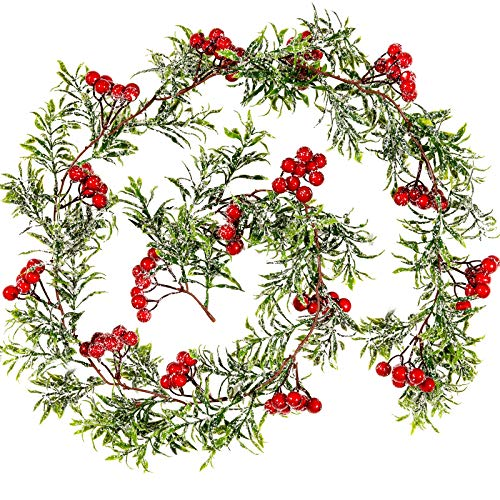 Whaline Christmas Garland 4.9Ft Red Berry Artificial Vine Snow Flocked Cypress Pine Garland Hanging Berry Wire Vine for Indoor Outdoor Home Wedding Winter Party Dinner Door Frame Backdrop Decoration