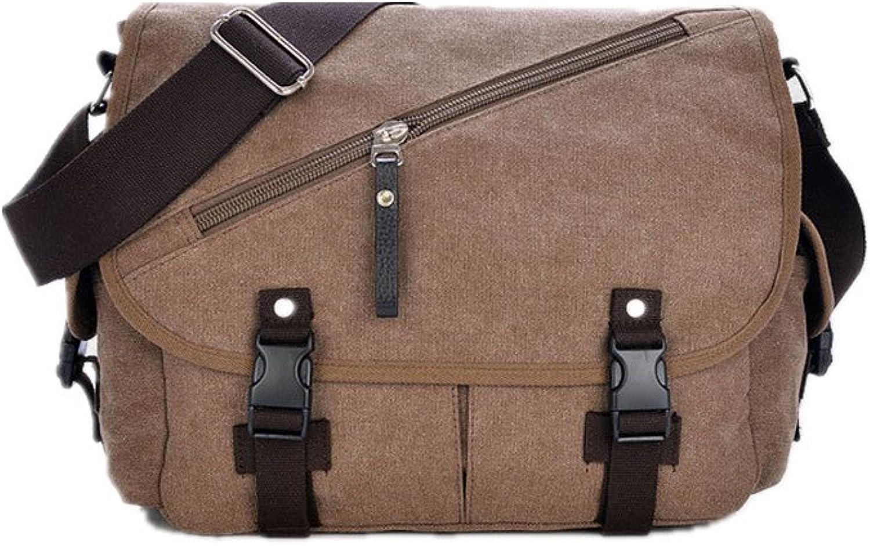 Sturdy Men's Handbag Messenger Handbag Canvas Shoulder Bags Travel Handbag Man Purse for Work Business Large Capacity (color   Coffee)