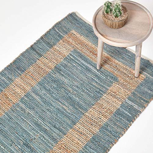 Homescapes Teppich Veranda, handgewebt aus 50% Hanf und 50% Baumwolle, 160 x 230cm, Flickenteppich mit geometrischem Muster, grau- Hellbraun