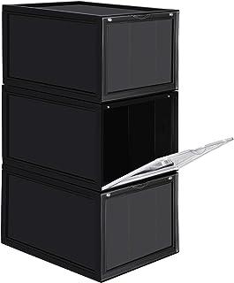 SONGMICS Cajas de Zapatos Apilables, Plástica, Rígida, Ahorro de Espacio, Fácil Montaje,28 x 36 x 22 cm, para Zapatos hasta la Talla 46, Juego de 3, Negro LSP03BK