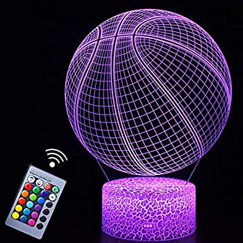 Basketball Night Light,3D Illusion Effect Lamp Light Remote Control RGB Colors&Dimmable Bday Xmas Gift Ideas for NBA Sport Lovers Kids Teen Boys Girls Basketball