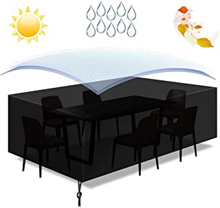 D&D Rectangle Garden Furniture Cover, 210D Oxford Fabric Waterproof Protective Cover, for Outdoor Patio Table and Chairs, ...
