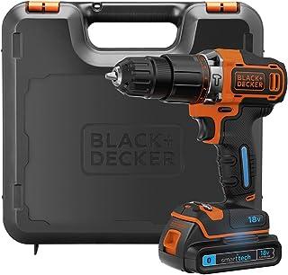 BLACK+DECKER 18 V 锂离子智能技术锤钻机,带套件盒