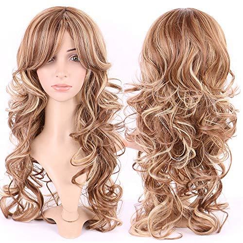 Realce loiro de 51 cm, peruca feminina de cabeça inteira, peruca longa, natural, 38 cm, gengibre avermelhado, franja reta para festa diária