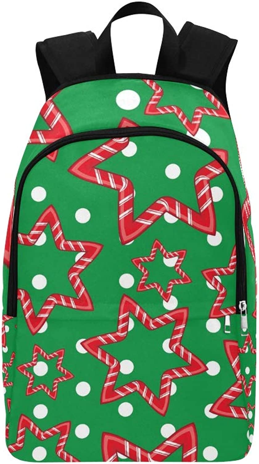 Candy Cane Christmas Casual Daypack Travel Bag College School Backpack for Mens and Women