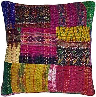 JaipurHandloom Indian Silk Sari Kantha Thread Embroidery Work Block Printed Kantha Cushion Cover, 41 X 41 Cm, lot of 5 pcs by Jaipur Handloom