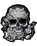 Patch écusson thermocollant skull tête de mort pirate Strass grand format