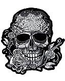 Patch escudo termoadhesiva Skull de calavera Pirata pedrería grande