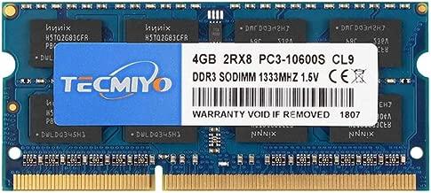 TECMIYO 4GB DDR3 1333MHz PC3-10600 PC3-10600S Non ECC Unbuffered 1.5V CL9 2RX8 Dual Rank 204 Pin SODIMM Laptop Notebook Computer Memory Ram Module
