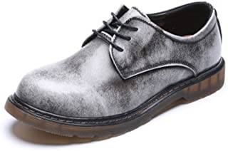 Ping.Feng Men's Loafer Shoes Genuine Leather Low Top Ankle Boots For Men Big Kids Size Available Oxford Shoes Dress shoes (Color : Gray, Size : 9 UK)