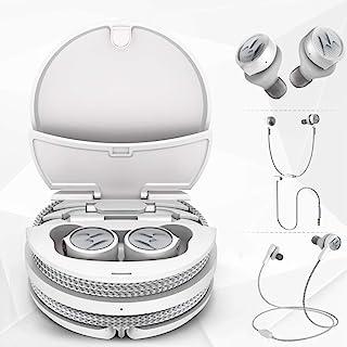 Motorola Tech - Auriculares inalámbricos inteligentes 3-3 en 1, cable deportivo, conector de audio, IPX5, micrófono integrado, funda de carga magnética con sistema de almacenamiento de cables, color blanco platino