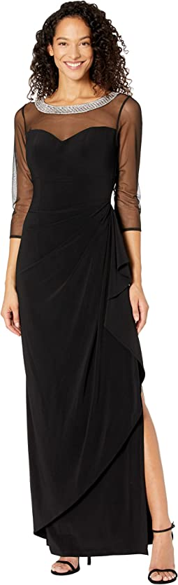 Long Illusion 3/4'' Sleeve Side Ruched Dress w/ Embellished Neckline