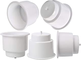Amarine Made (Set of 5) White Recessed Drop in Plastic Cup Drink Can Holder with Drain for Boat Car Marine Rv (White)