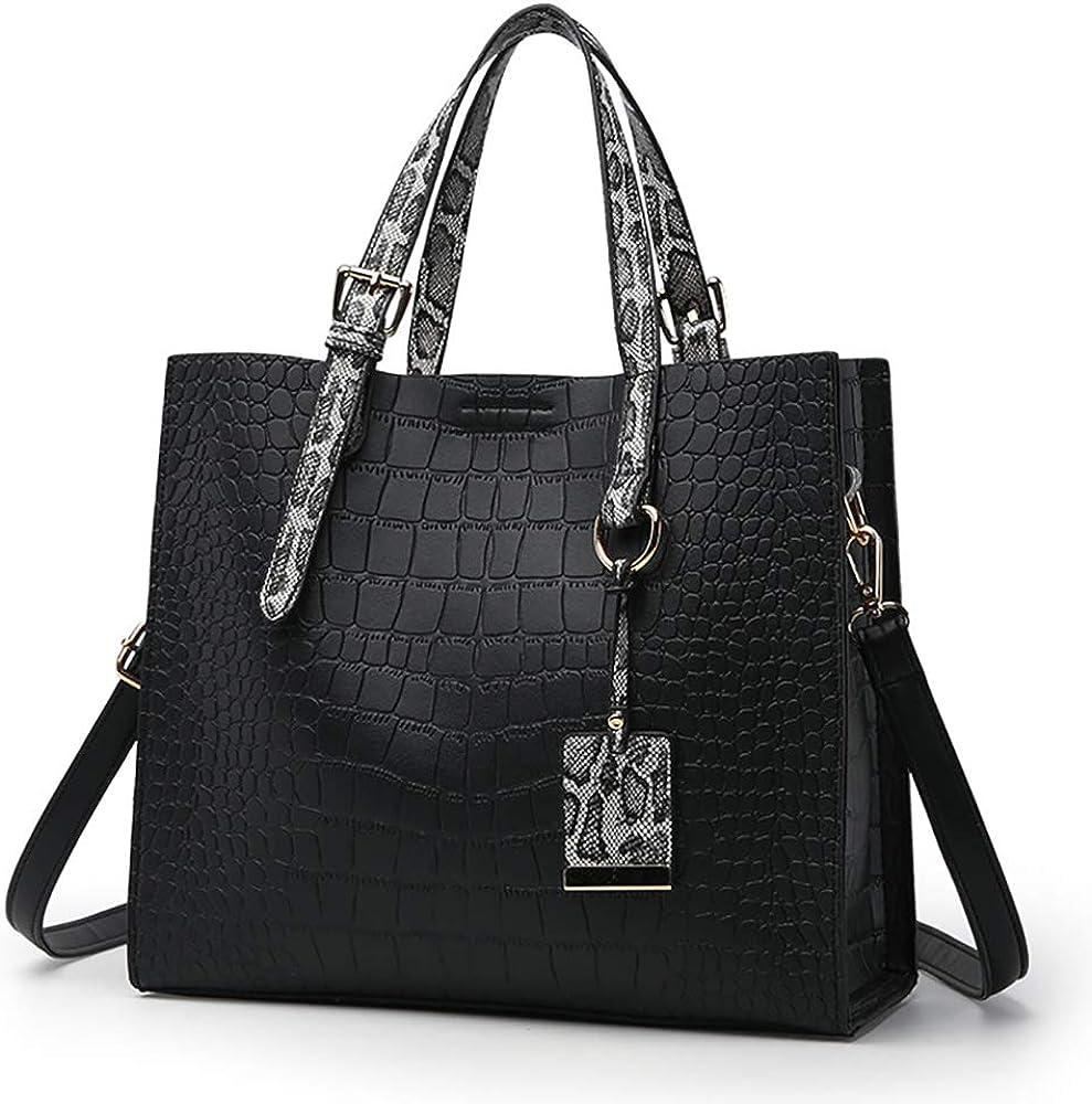 Women Fashion Crocodile Pattern Handbag Snakeskin Top Handle Tote Purse Shoulder Crossbody Bag