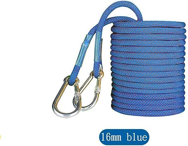 Équipement d'escalade Corde de sécurité de travail aérien de 16mm, élingue d'insTailletion de climatisation de polyester de haute résistance, corde de prougeection de nettoyage de mur extérieur bleu
