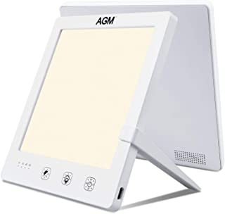 AGM Lámparas de Luz Natural sin rayos UV, Lámpara de Terapia de Luz de 10000 lux, Temperatura de Color Ajustable 3000-6500K, Ajuste Brillo Continuo, Antidepresivo Simulado, Uso en la Oficina en casa