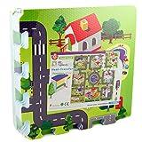 Tapis de jeu en mousse pour enfant avec dessins de routes, 9 pièces de puzzle, 92 x...