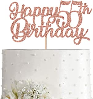 55th Birthday Cake Topper, Rose Gold Glitter Cheers To 55 Years Party Decoration, Supply
