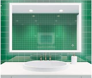 ROGSFN 36'x28' LED Hard Wire Rectangle Frosted Edge Modern Backlit Anti-Fog Bathroom Vanity Mirror Lighted Framelss Makeup Wall Mounted Defogger Mirrors Dimmable Touch On Button (Horizontal/Vertical)
