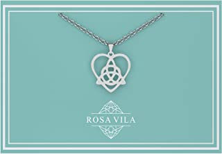 Rosa Vila Celtic Knot Necklace, Celtic Jewelry for Women, Irish Jewelry for Women, Celtic Necklace with Trinity Knot, Triquetra Necklace Gift, Trinity Pendant Necklaces, Irish Gifts for Women