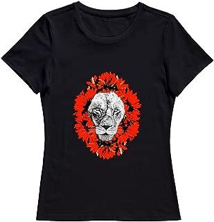 KST Women Lion Roar Chrysanthemum Cotton O Neck Fashion T-Shirts