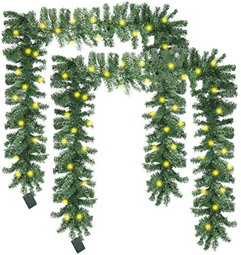 com-four® 2X Künstliche Weihnachtsgirlande mit LED Beleuchtung - Batteriebetriebene Tannengirlande - Dekogirlande mit Timer für Tür und Fenster (Weihnachtsgirlande - 2 Stück)