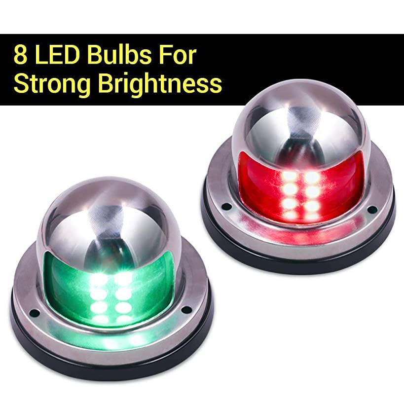 Rassody One Pair LED Boat Navigation Lights, Bow and Stern Lights with Stainless Steel Housing for Pontoons, Marine, Yacht DC 12V