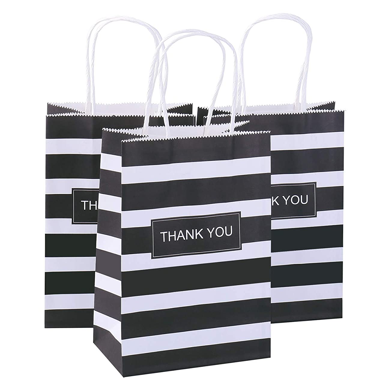 Road Black Stripe Kraft Paper Bags with 'Thank You' 5 x 3.75 x 8 inches (Pack og 50), Gift Party Bags with Handles, Kraft Bags, Shopping Bags, Retail Grocery Bags