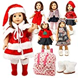 """Oct17 Doll Clothes for American Girl 18"""" inch Dolls Wardrobe Makeover Outift Christmas Santa Casual Dress Boots Bundle"""