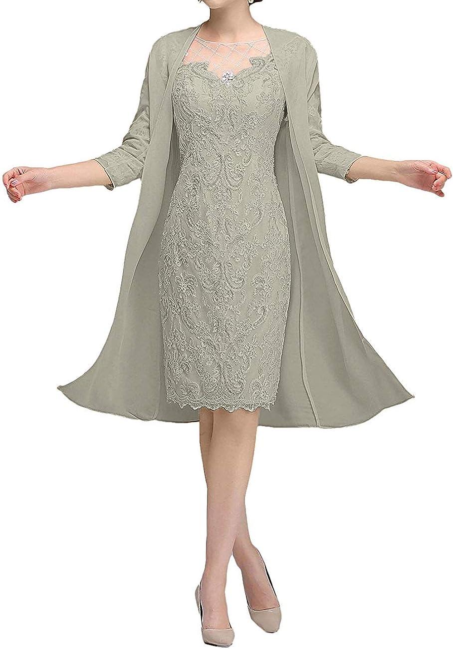 Tea Length Mother of The Bride Dresses Lace Appliques Evening Formal Dress Chiffon Jacket