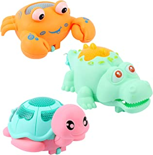 TOYANDONA 3pcs Baby Bath Toys Bathtub Wind Up Turtle Toys Floating Crab Crocodile Animal Toys Clockwork Walking Toys Birth...