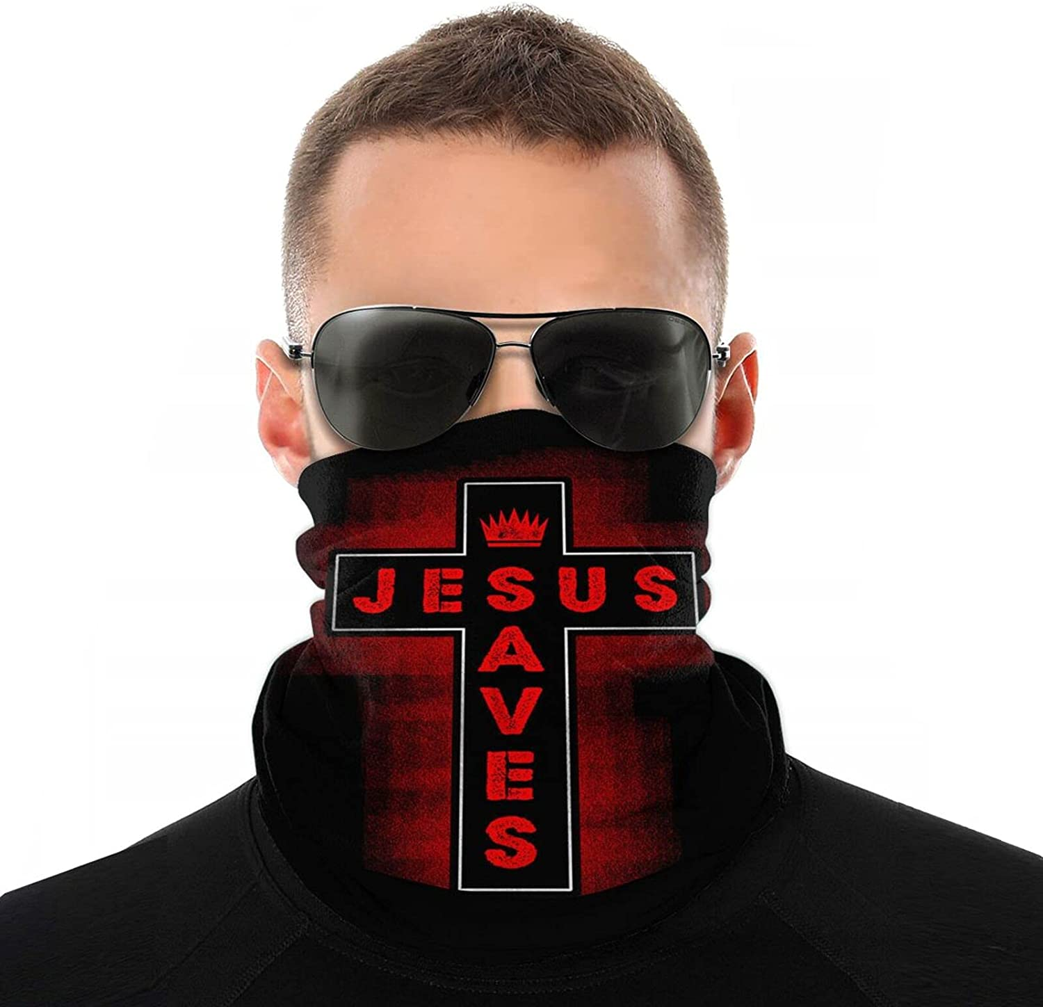 Christian Jesus Saves Face Cover Mouth Mask Neck Warm Multi Function Balaclava for Outdoor White