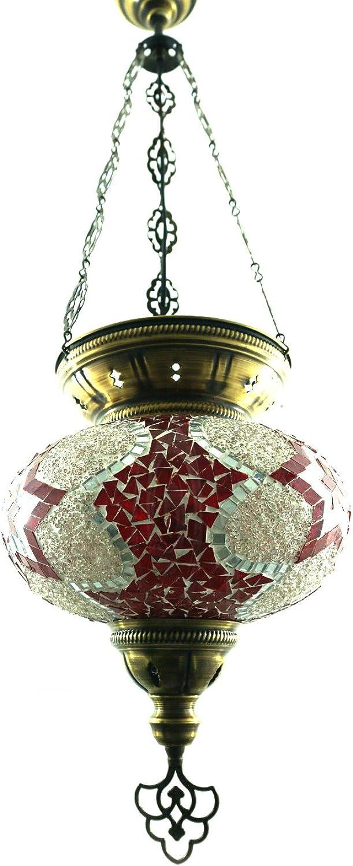 Handgefertigte Orientalisch Türkisch Mosaik Glas Hnge Lampe Innenleuchte Pendelleuchte Deckenleuchte Aussenleuchte Handarbeit Hngeleuchte Glasgre 5 (Rot-Stern)