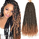 7 Packs Pre-Twisted Passion Twist Crochet Hair 20 Inch Ombre Pre-looped Passion Twist Crochet Hair Braids Prelooped Bohemian Synthetic Braiding Hair Extension by Lohot(14 Strands/Pack, T1B/27)