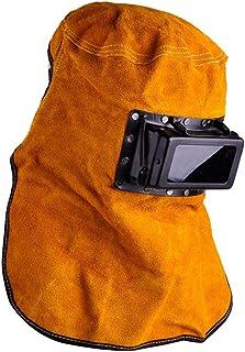 Liamostee - Filtro Solar de oscurecimiento automático para Soldador de Lentes de Cuero con Capucha para