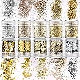 TUT 10 Set Di Polvere Glitter per Unghie, Lustrini 3D Per Manicure, Paillettes Argento Champagne, Trucco, Nail Art