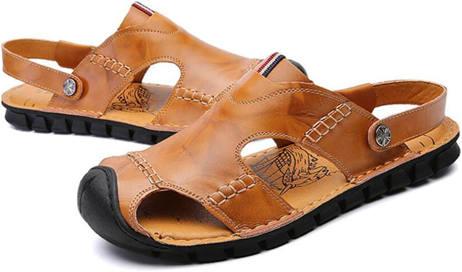 GAOLIXIA Men's Leather Breathable Sandals Summer Hollow Slippers Comfortable Outdoor Casual shoes Fashion Durable Beach shoes