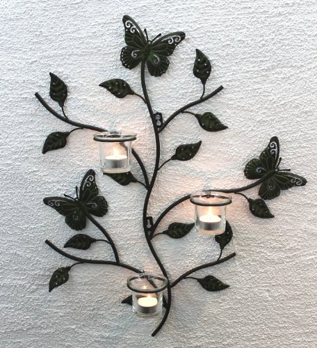 DanDiBo Wandteelichthalter Metall Kerzenständer Wandkerzenhalter für Teellichter 12120 Teelichthalter 62 cm Wandleuchter Kerzenhalter Wand Teelichtglas