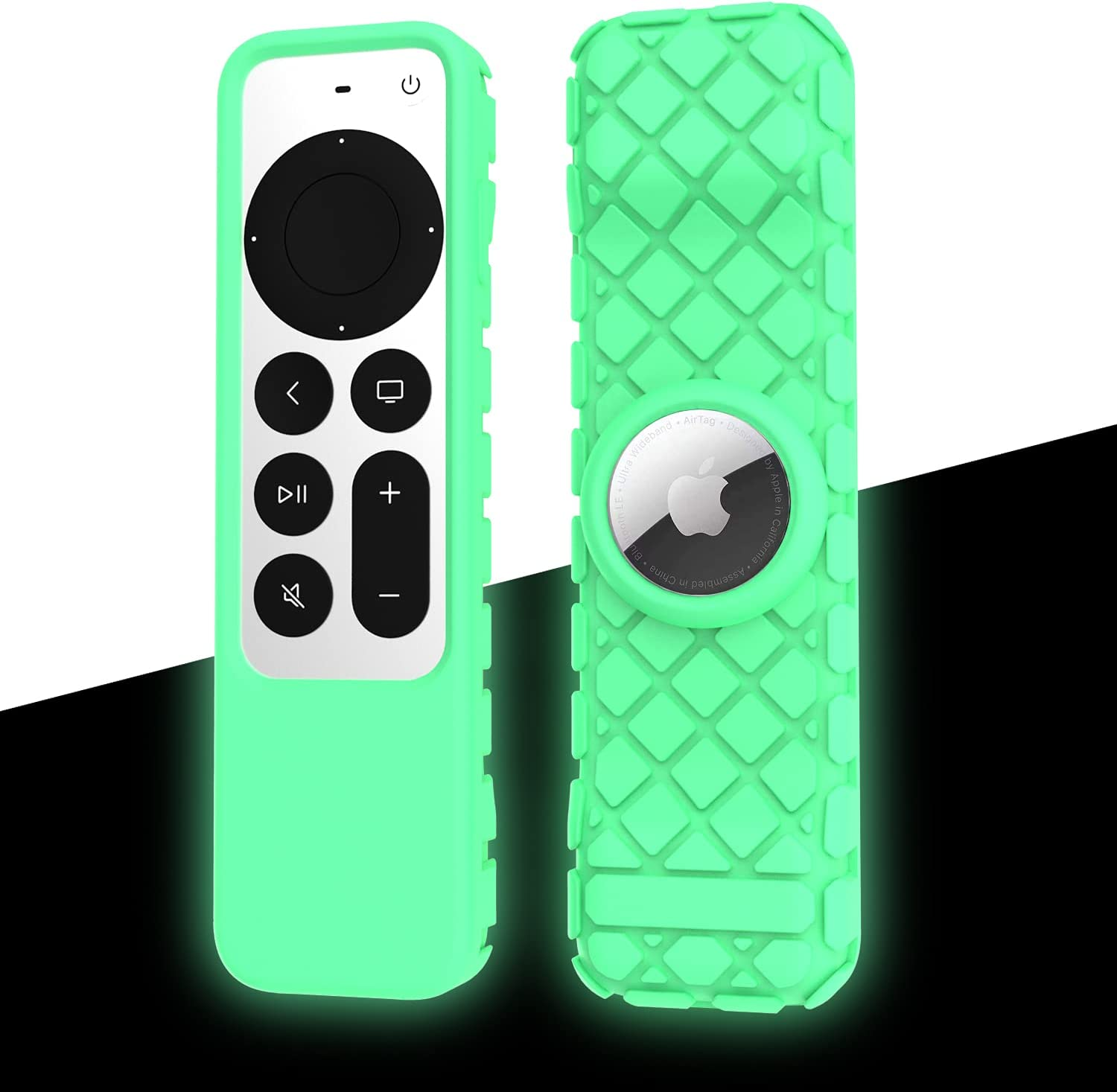 Fit Designed for 2021 Apple TV Siri Remote Controls and Compatible with Apple AirTag, Suublg Silicone Remote Case Protective Cover -Drop Protection, Full Access to All Buttons (Luminous Green)