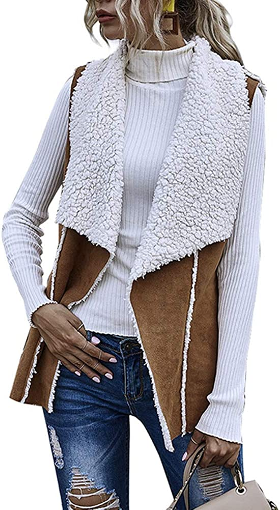 Womens Faux Fur Suede Open Front Sleeveless Plaid Casual Vest Cardigan Jacket