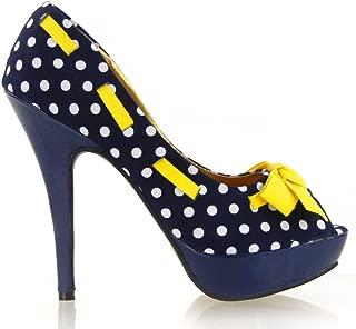 Sexy Peep Toe Polka Dots Bow Platform Stiletto High Heel Pump,LF30421