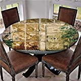 """Elastic Edged Polyester Fitted Table Cover,Rustic Brick House Still Door with Moss and Dirt Urban Garage Outdoor Image,Fits up 45""""-56"""" Diameter Tables,The Ultimate Protection for Your Table,Green Yell"""
