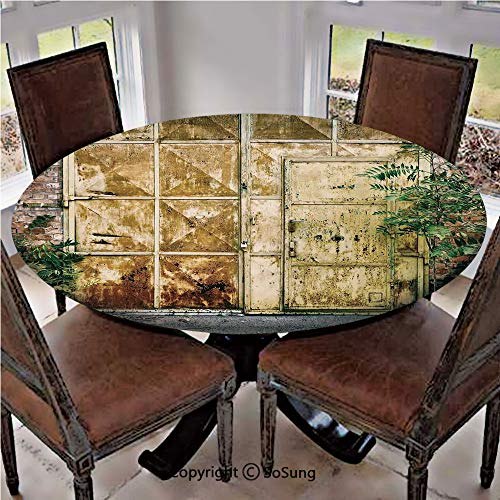 "Elastic Edged Polyester Fitted Table Cover,Rustic Brick House Still Door with Moss and Dirt Urban Garage Outdoor Image,Fits up 45""-56"" Diameter Tables,The Ultimate Protection for Your Table,Green Yell"