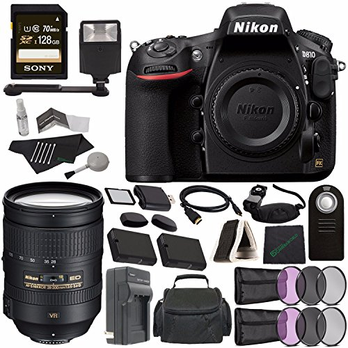 Nikon D810 DSLR Camera (Body Only) + Nikon AF-S NIKKOR 28-300mm f/3.5-5.6G ED VR Lens + Battery + Charger + Sony 128GB SDXC Card + HDMI Cable + Remote + Memory Card Wallet + Flash Bundle