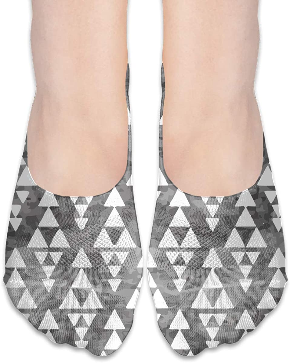 No Show Socks Women Men For Stacked Triangle Grey Vintage Flats Cotton Ultra Low Cut Liner Socks Non Slip