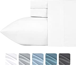 """California Design Den 700-Thread-Count 4-Piece King Size Essential Cotton Blend Sheet Set in Solid Pure White - Fits Upto 18"""" Deep Pocket, Breathable, Sateen Weave, Poly-Cotton Sheets and Pillowcases"""
