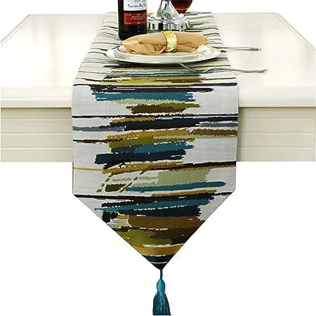 """Runner da tavola stilosa, in iuta, con tecnologia jacquard, di colore grigio/blu/rosso, Green, 30cm * 200cm (12"""" * 78"""" approx)"""