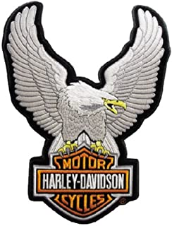 Harley-Davidson Eagle Winged Large Silver Patch, 7-3/4'' x 10-1/4'' EMB328064